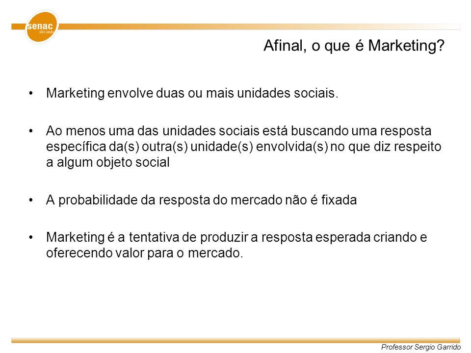 Professor Sergio Garrido Afinal, o que é Marketing? Marketing envolve duas ou mais unidades sociais. Ao menos uma das unidades sociais está buscando u