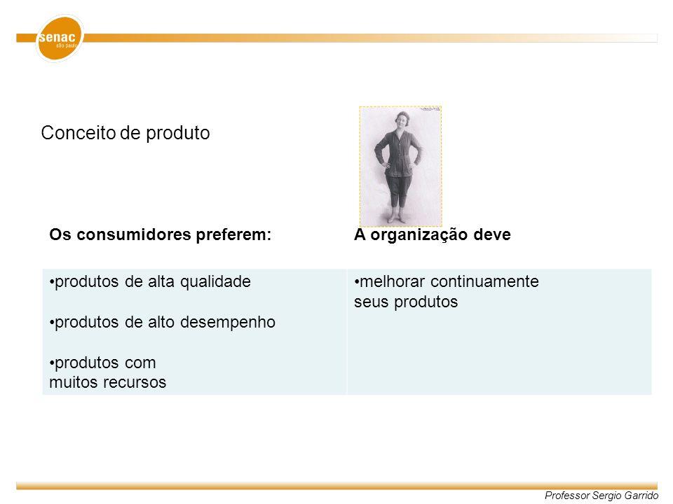 Professor Sergio Garrido Conceito de produto Os consumidores preferem:A organização deve produtos de alta qualidade produtos de alto desempenho produt