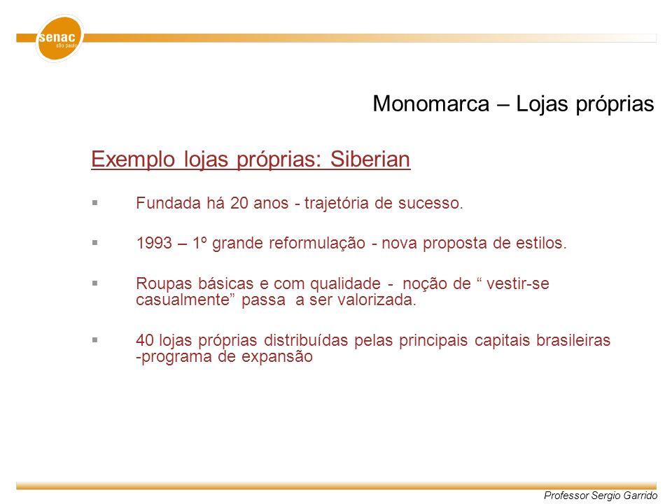 Professor Sergio Garrido Monomarca – Lojas próprias Exemplo lojas próprias: Siberian Fundada há 20 anos - trajetória de sucesso. 1993 – 1º grande refo
