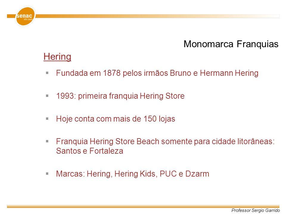 Professor Sergio Garrido Hering Fundada em 1878 pelos irmãos Bruno e Hermann Hering 1993: primeira franquia Hering Store Hoje conta com mais de 150 lo