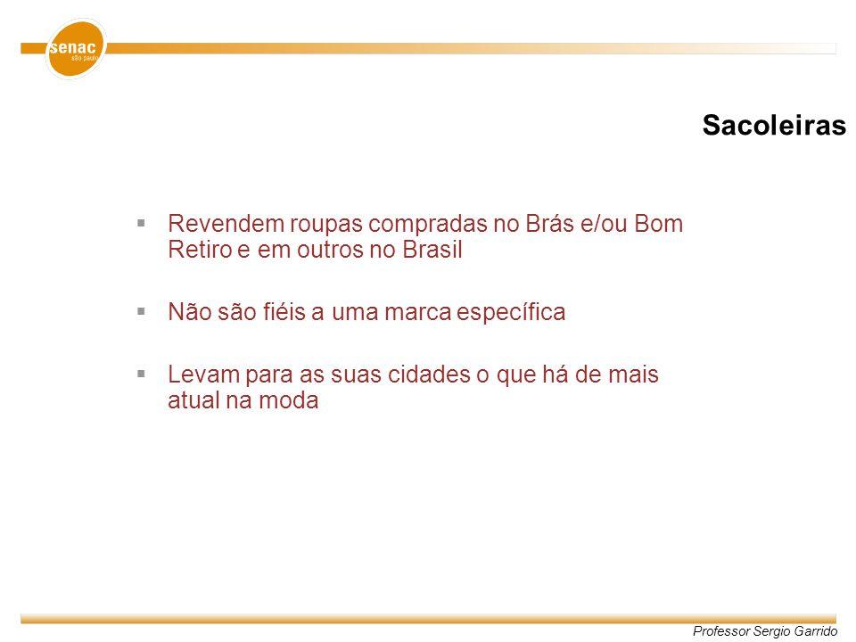 Professor Sergio Garrido Revendem roupas compradas no Brás e/ou Bom Retiro e em outros no Brasil Não são fiéis a uma marca específica Levam para as su