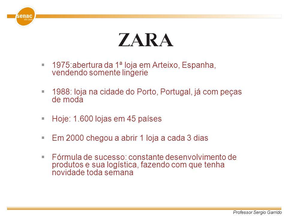 Professor Sergio Garrido 1975:abertura da 1ª loja em Arteixo, Espanha, vendendo somente lingerie 1988: loja na cidade do Porto, Portugal, já com peças
