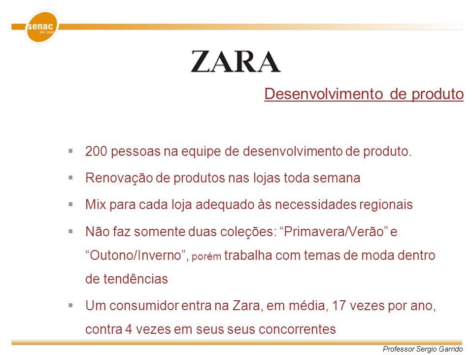 Professor Sergio Garrido Desenvolvimento de produto 200 pessoas na equipe de desenvolvimento de produto. Renovação de produtos nas lojas toda semana M