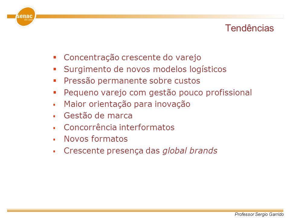 Professor Sergio Garrido Tendências Concentração crescente do varejo Surgimento de novos modelos logísticos Pressão permanente sobre custos Pequeno va