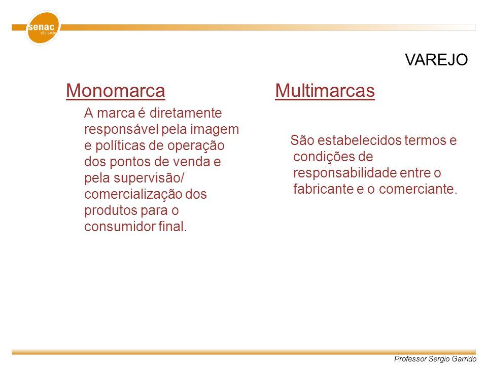 Professor Sergio Garrido Monomarca A marca é diretamente responsável pela imagem e políticas de operação dos pontos de venda e pela supervisão/ comerc