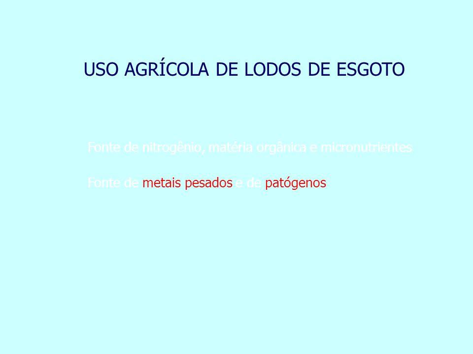 USO AGRÍCOLA DE LODOS DE ESGOTO Fonte de nitrogênio, matéria orgânica e micronutrientes Fonte de metais pesados e de patógenos