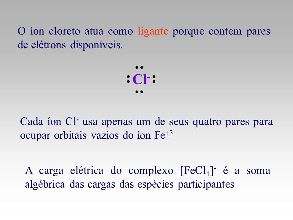 O íon cloreto atua como ligante porque contem pares de elétrons disponíveis. Cl - A carga elétrica do complexo [FeCl 4 ] - é a soma algébrica das carg