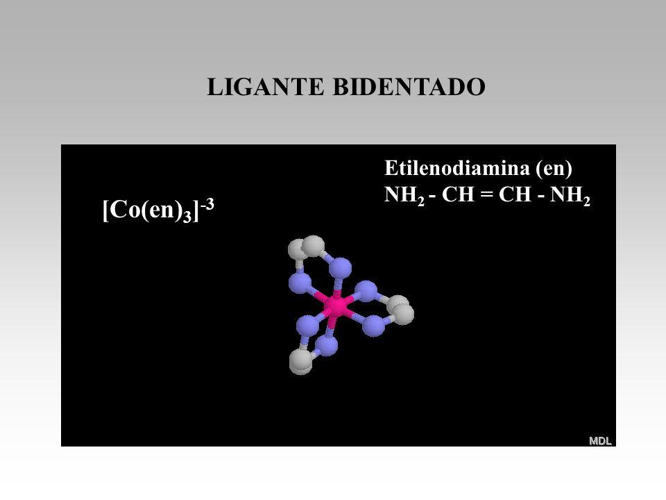 [Co(en) 3 ] -3 LIGANTE BIDENTADO Etilenodiamina (en) NH 2 - CH = CH - NH 2