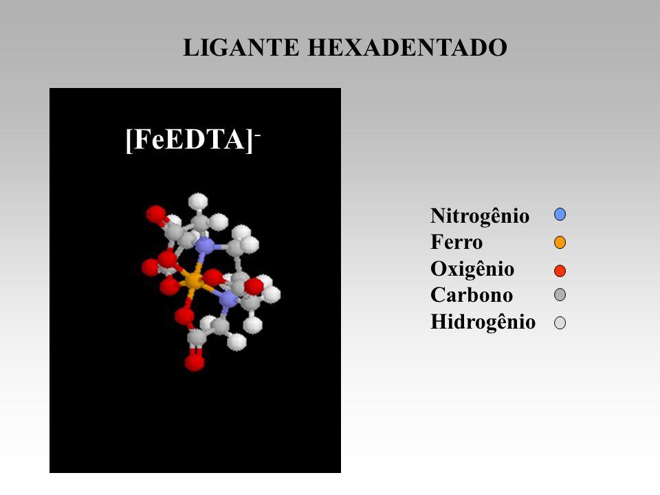 Nitrogênio Ferro Oxigênio Carbono Hidrogênio LIGANTE HEXADENTADO EDTA [FeEDTA] -
