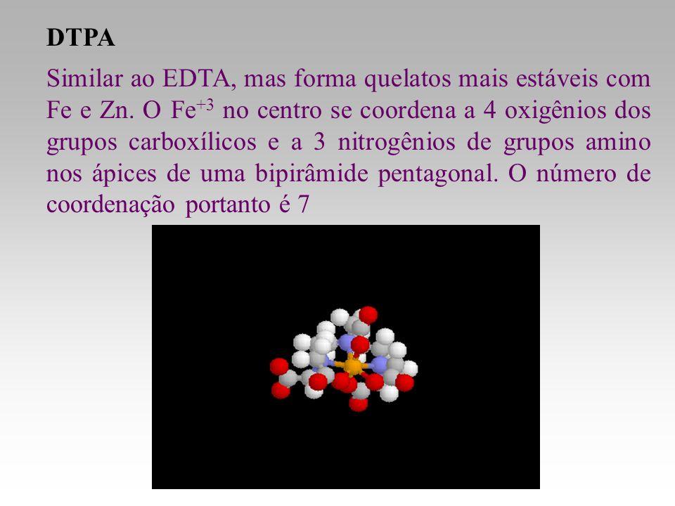 DTPA Similar ao EDTA, mas forma quelatos mais estáveis com Fe e Zn. O Fe +3 no centro se coordena a 4 oxigênios dos grupos carboxílicos e a 3 nitrogên