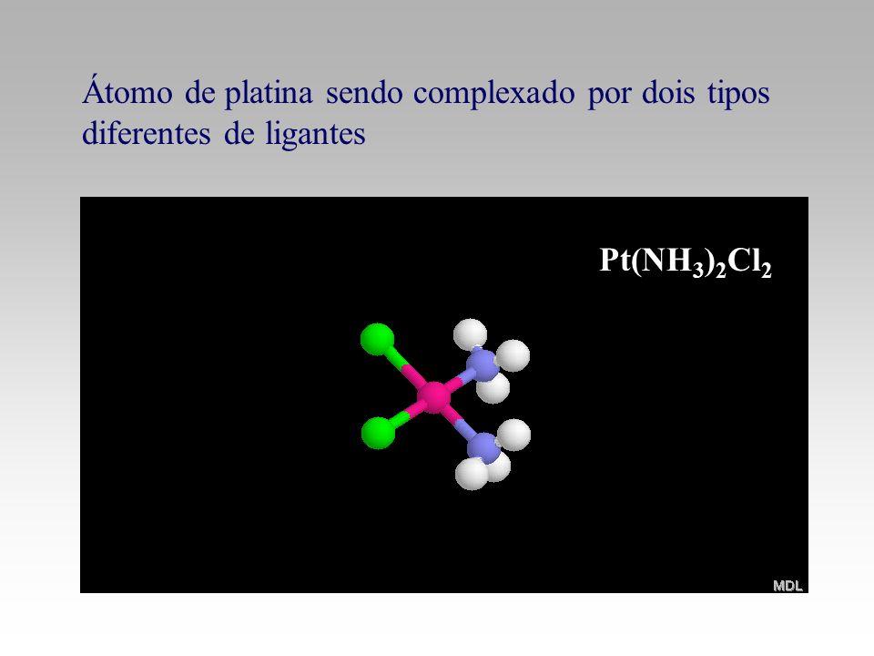 Pt(NH 3 ) 2 Cl 2 Átomo de platina sendo complexado por dois tipos diferentes de ligantes
