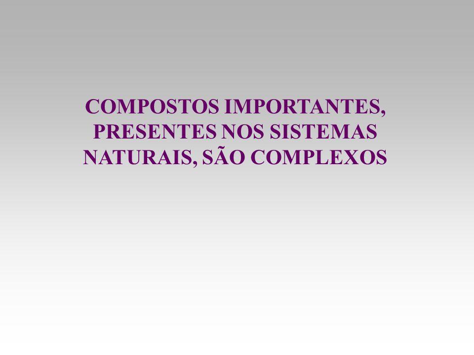 COMPOSTOS IMPORTANTES, PRESENTES NOS SISTEMAS NATURAIS, SÃO COMPLEXOS