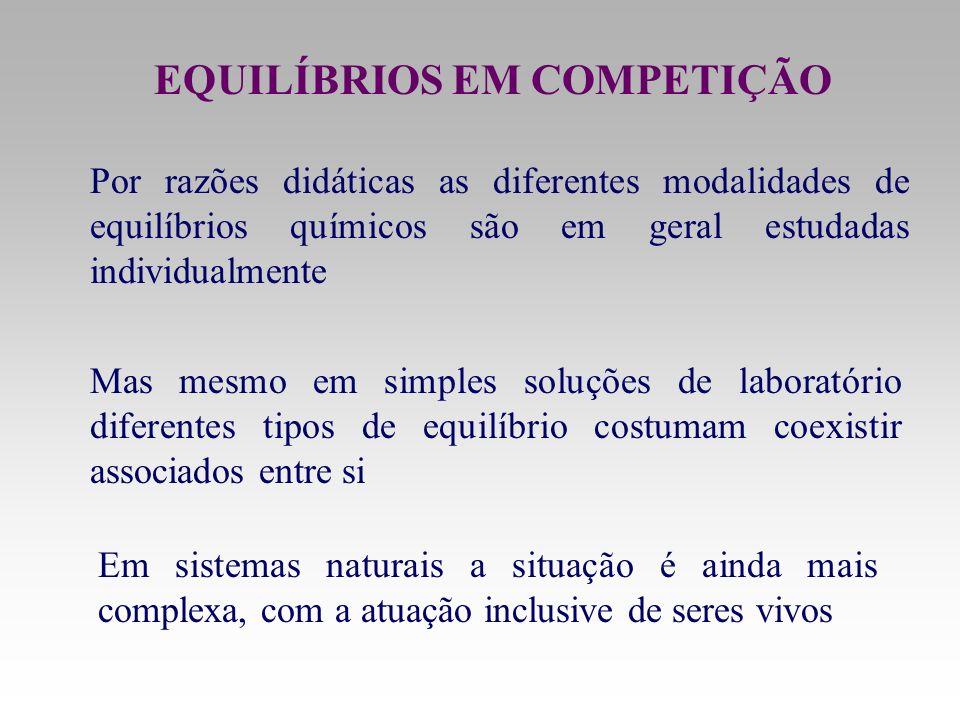EQUILÍBRIOS EM COMPETIÇÃO Por razões didáticas as diferentes modalidades de equilíbrios químicos são em geral estudadas individualmente Mas mesmo em s