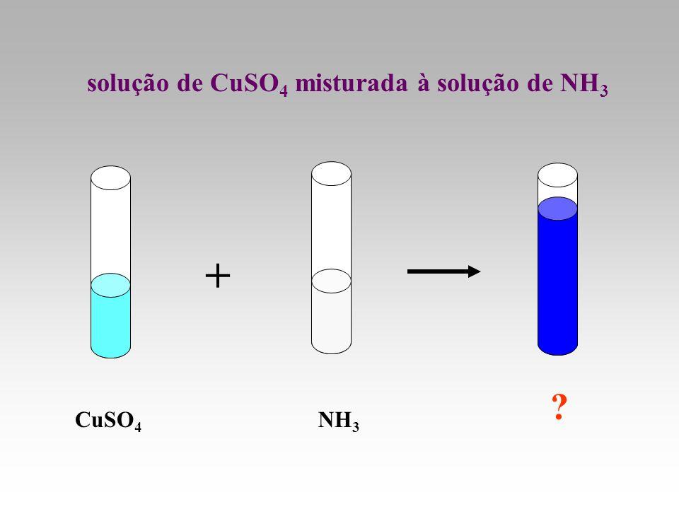 CuSO 4 NH 3 ? solução de CuSO 4 misturada à solução de NH 3 +