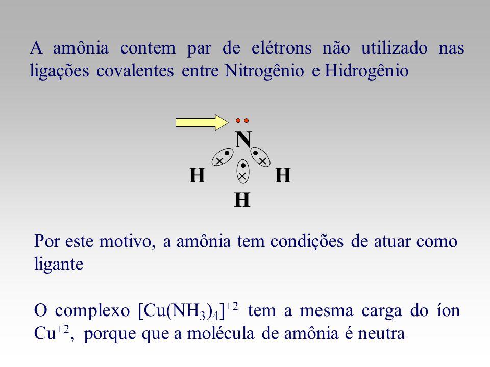 A amônia contem par de elétrons não utilizado nas ligações covalentes entre Nitrogênio e Hidrogênio O complexo [Cu(NH 3 ) 4 ] +2 tem a mesma carga do