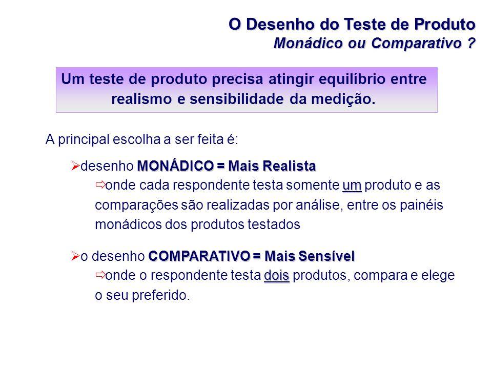O Desenho do Teste de Produto Monádico ou Comparativo ? A principal escolha a ser feita é: MONÁDICO = Mais Realista desenho MONÁDICO = Mais Realista u