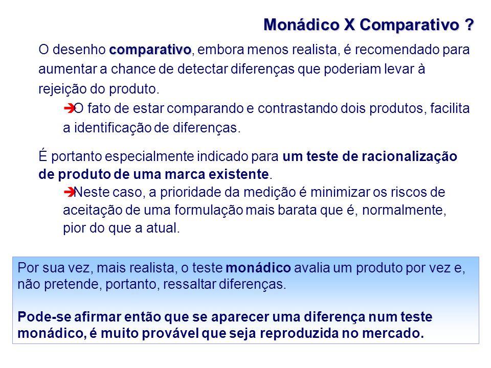Monádico X Comparativo ? comparativo O desenho comparativo, embora menos realista, é recomendado para aumentar a chance de detectar diferenças que pod