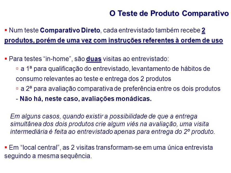O Teste de Produto Comparativo Comparativo Direto2 produtos, porém de uma vez com instruções referentes à ordem de uso Num teste Comparativo Direto, c