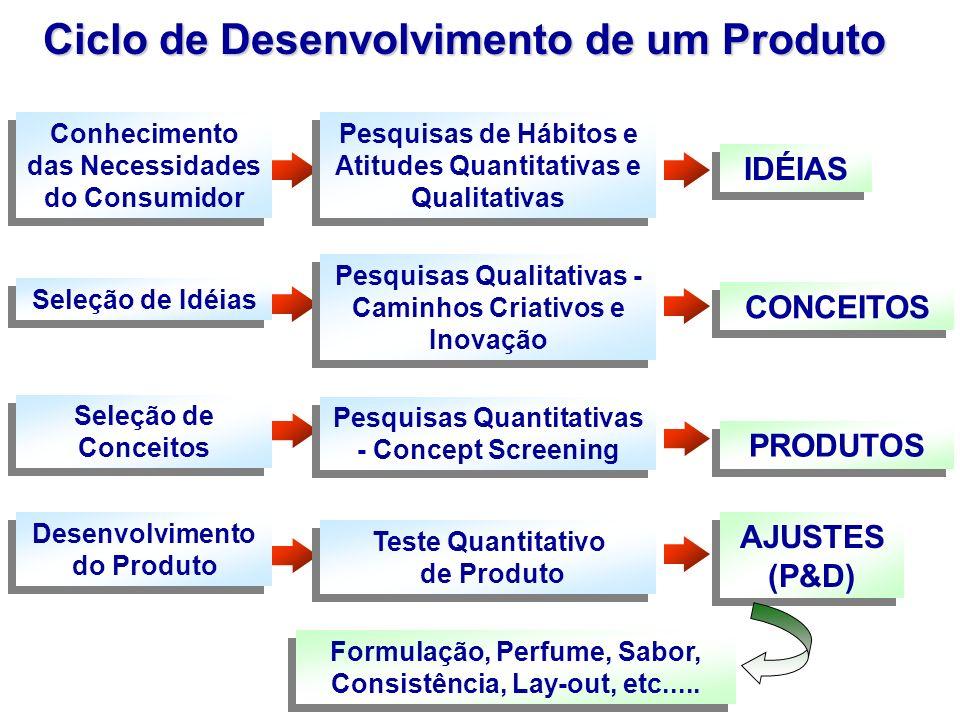 Conhecimento das Necessidades do Consumidor Pesquisas de Hábitos e Atitudes Quantitativas e Qualitativas IDÉIAS Seleção de Idéias Pesquisas Qualitativ