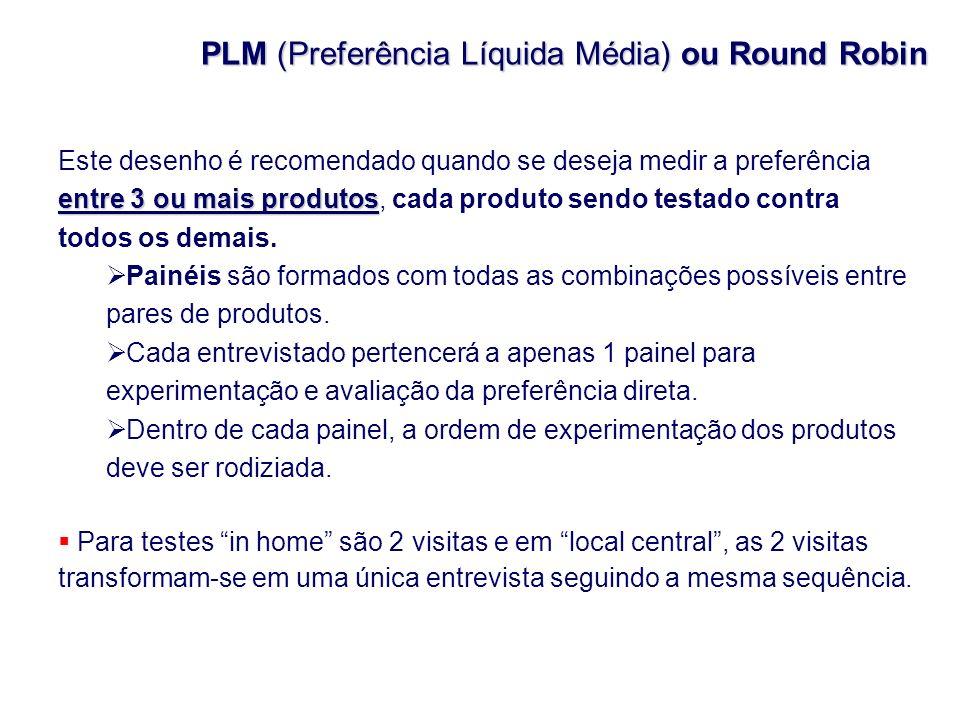 PLM (Preferência Líquida Média) ou Round Robin entre 3 ou mais produtos Este desenho é recomendado quando se deseja medir a preferência entre 3 ou mai