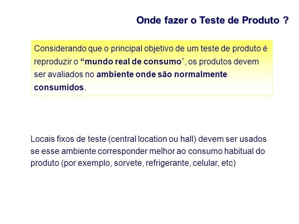 Onde fazer o Teste de Produto ? Considerando que o principal objetivo de um teste de produto é reproduzir o mundo real de consumo, os produtos devem s
