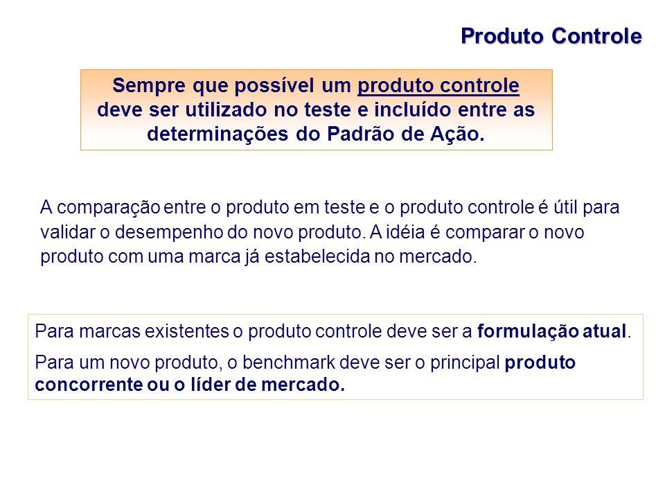 Produto Controle A comparação entre o produto em teste e o produto controle é útil para validar o desempenho do novo produto. A idéia é comparar o nov
