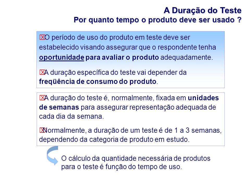 A Duração do Teste Por quanto tempo o produto deve ser usado ? O período de uso do produto em teste deve ser estabelecido visando assegurar que o resp