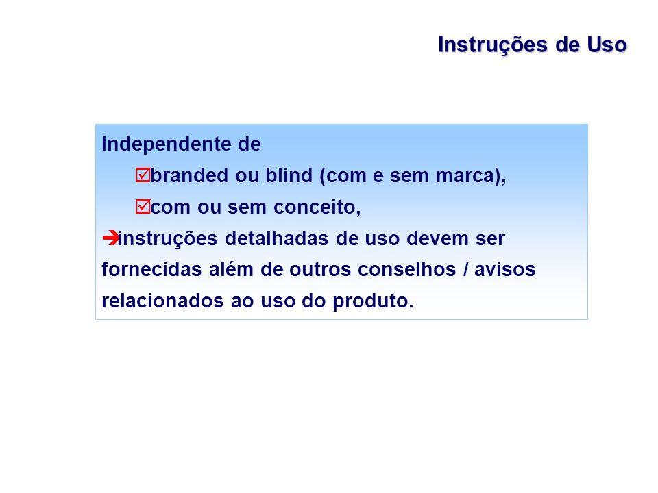 Independente de branded ou blind (com e sem marca), com ou sem conceito, instruções detalhadas de uso devem ser fornecidas além de outros conselhos /