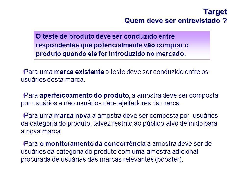 Target Quem deve ser entrevistado ? Para uma marca existente o teste deve ser conduzido entre os usuários desta marca. Para aperfeiçoamento do produto