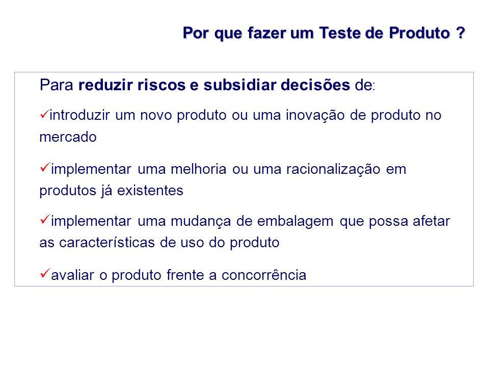 Por que fazer um Teste de Produto ? Para reduzir riscos e subsidiar decisões de : introduzir um novo produto ou uma inovação de produto no mercado imp