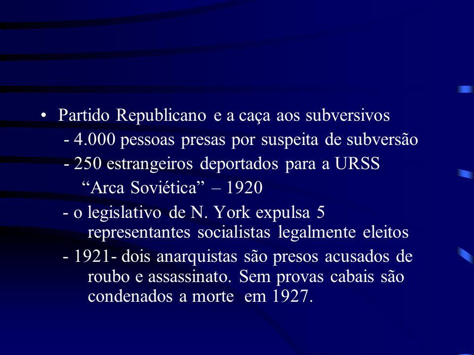 Partido Republicano e a caça aos subversivos - 4.000 pessoas presas por suspeita de subversão - 250 estrangeiros deportados para a URSS Arca Soviética