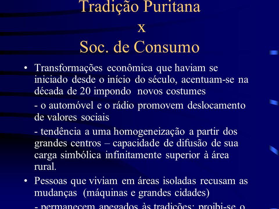 Tradição Puritana x Soc. de Consumo Transformações econômica que haviam se iniciado desde o início do século, acentuam-se na década de 20 impondo novo