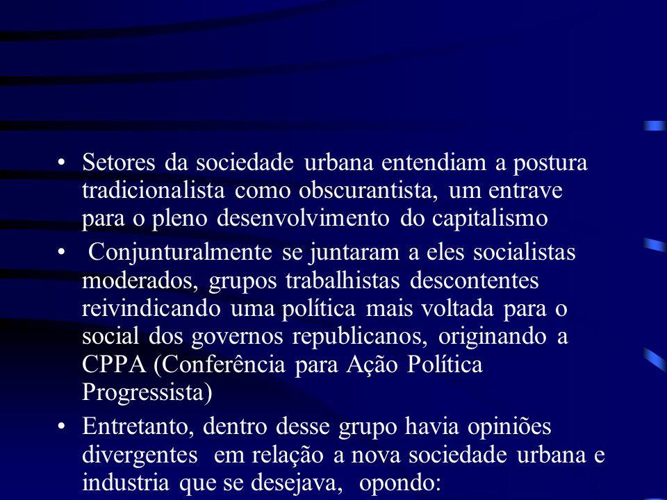 Setores da sociedade urbana entendiam a postura tradicionalista como obscurantista, um entrave para o pleno desenvolvimento do capitalismo Conjuntural