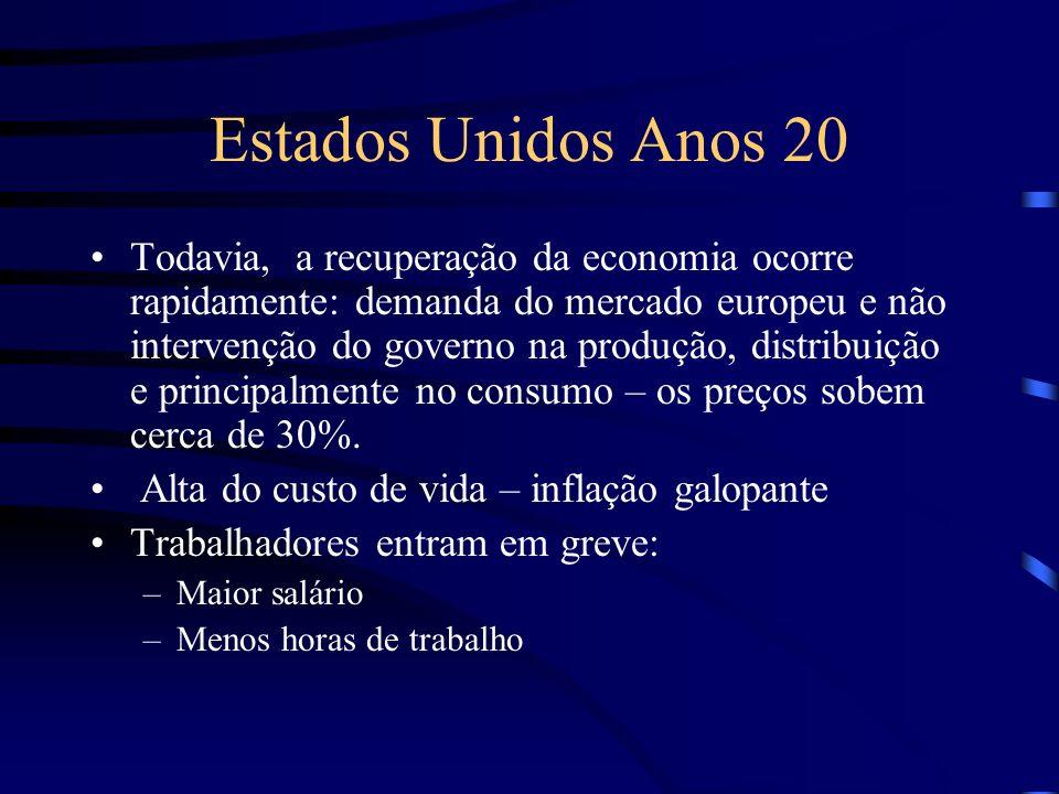 Estados Unidos Anos 20 Todavia, a recuperação da economia ocorre rapidamente: demanda do mercado europeu e não intervenção do governo na produção, dis