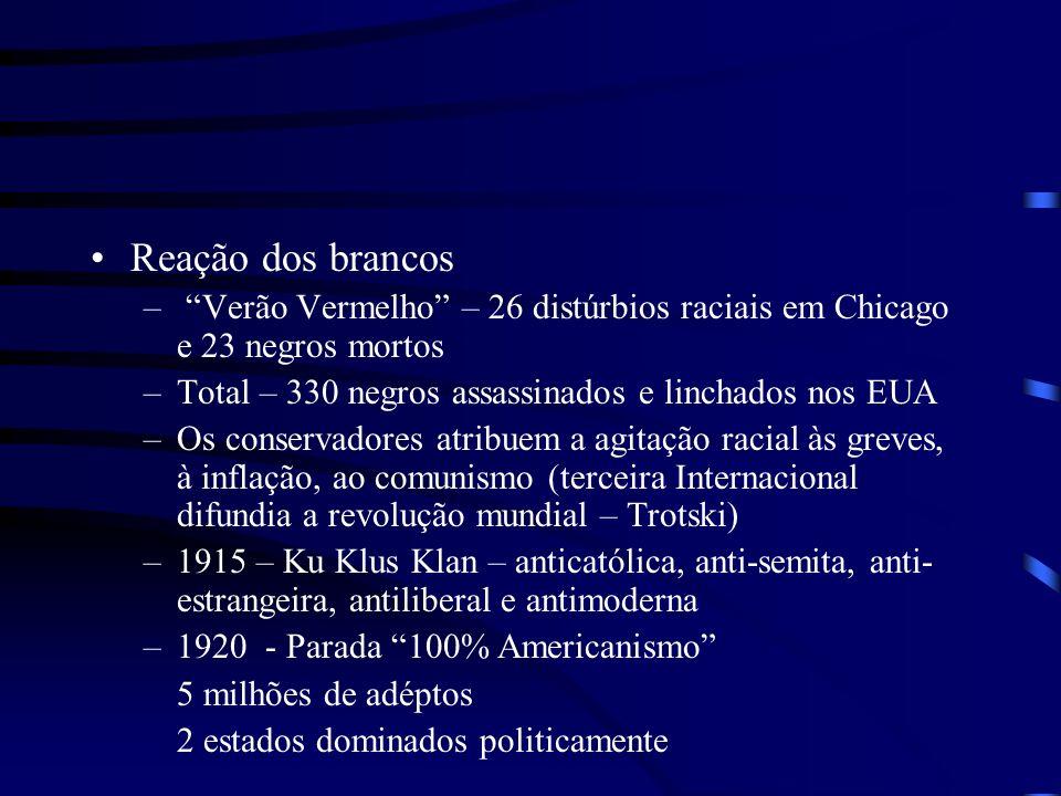Estados Unidos anos 20 Reação dos brancos – Verão Vermelho – 26 distúrbios raciais em Chicago e 23 negros mortos –Total – 330 negros assassinados e li