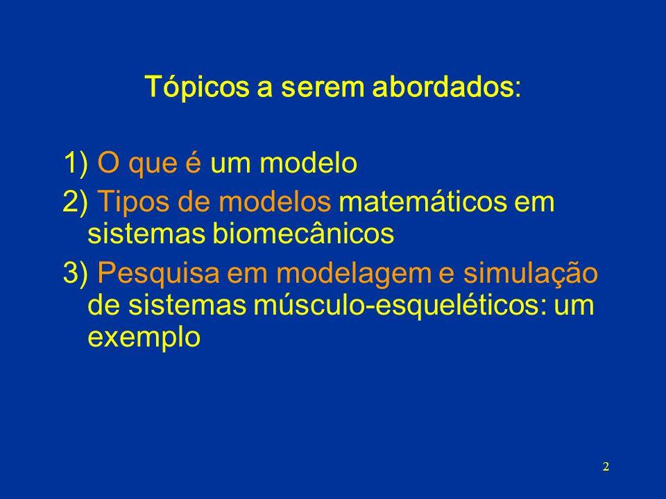 2 Tópicos a serem abordados: 1) O que é um modelo 2) Tipos de modelos matemáticos em sistemas biomecânicos 3) Pesquisa em modelagem e simulação de sis