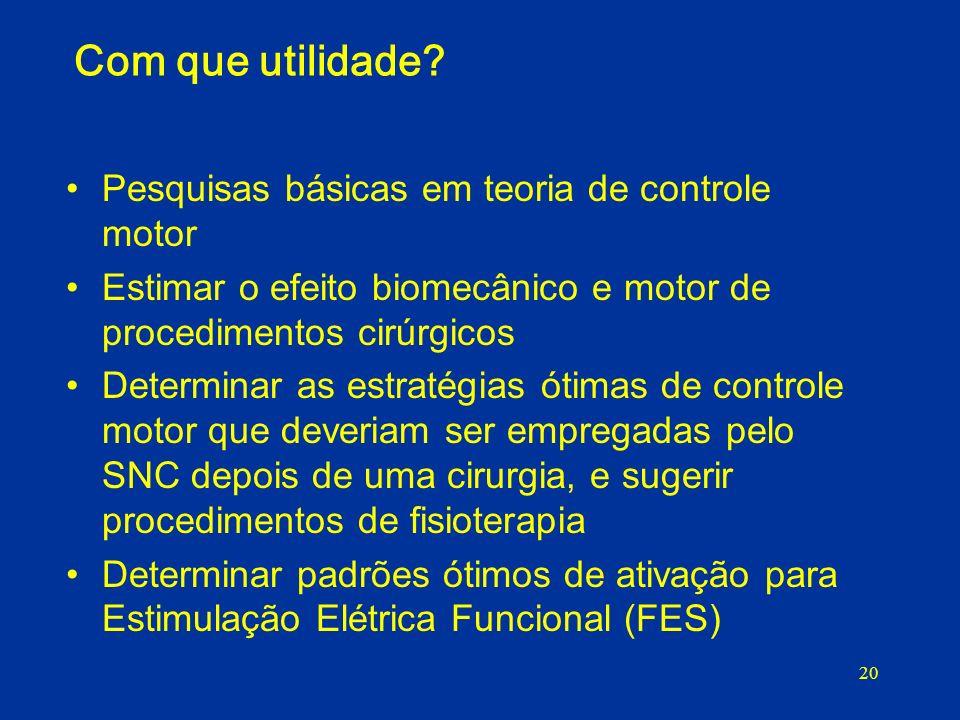 20 Com que utilidade? Pesquisas básicas em teoria de controle motor Estimar o efeito biomecânico e motor de procedimentos cirúrgicos Determinar as est