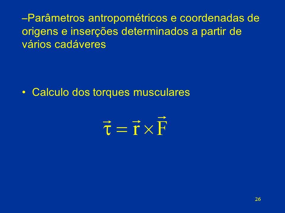 26 –Parâmetros antropométricos e coordenadas de origens e inserções determinados a partir de vários cadáveres Calculo dos torques musculares