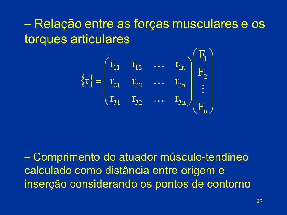 27 – Relação entre as forças musculares e os torques articulares – Comprimento do atuador músculo-tendíneo calculado como distância entre origem e inserção considerando os pontos de contorno