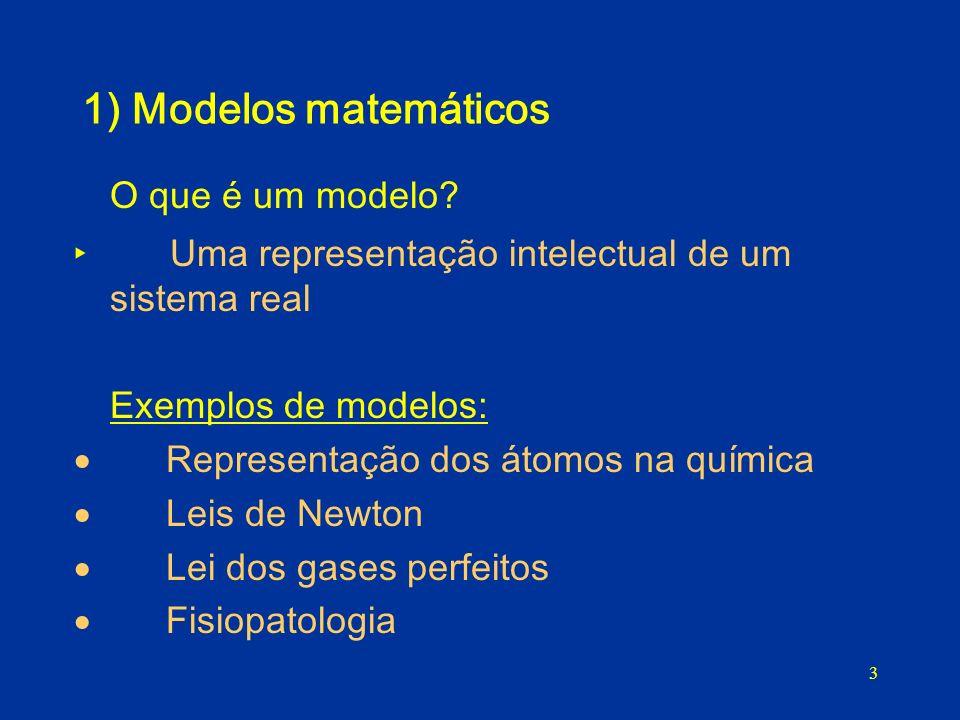 3 1) Modelos matemáticos O que é um modelo? Uma representação intelectual de um sistema real Exemplos de modelos: Representação dos átomos na química