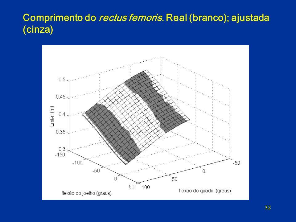 32 Comprimento do rectus femoris. Real (branco); ajustada (cinza)