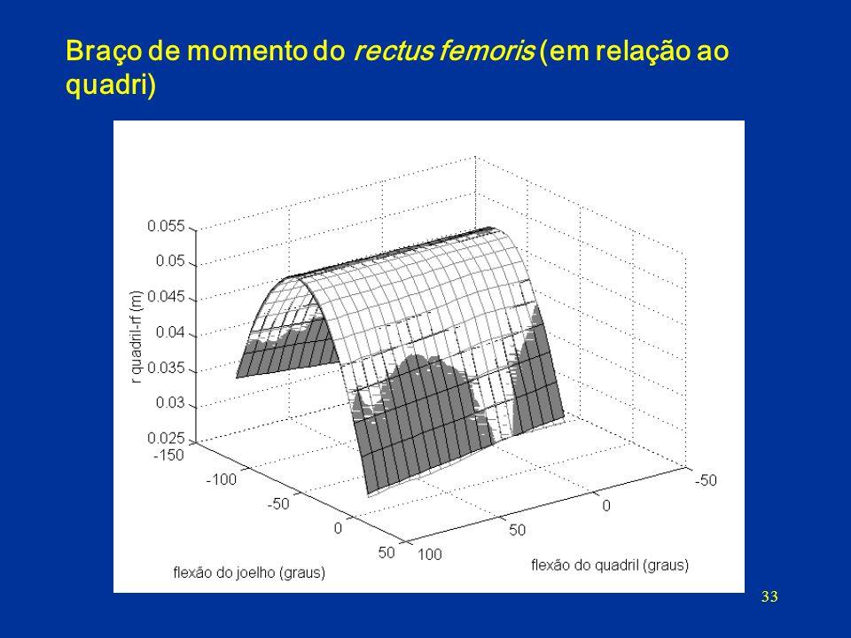 33 Braço de momento do rectus femoris (em relação ao quadri)