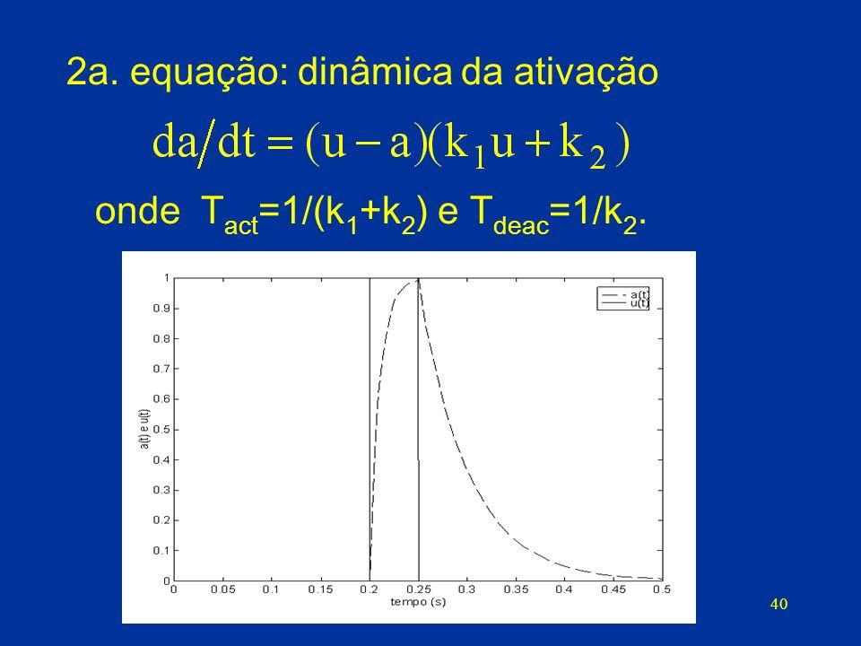 40 2a. equação: dinâmica da ativação onde T act =1/(k 1 +k 2 ) e T deac =1/k 2.