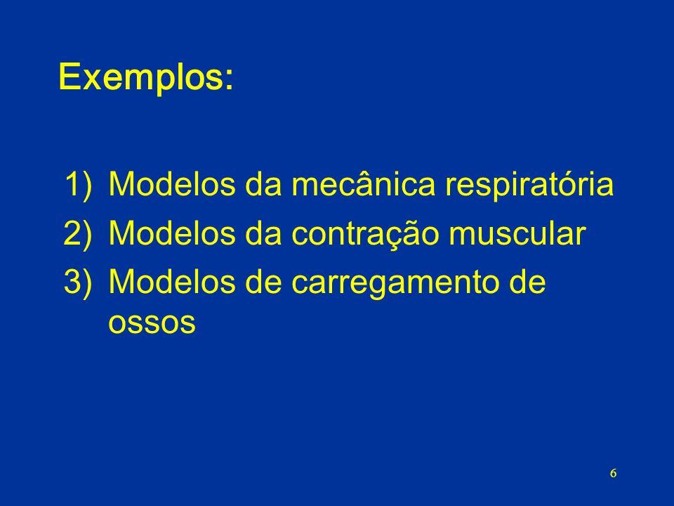 6 Exemplos: 1)Modelos da mecânica respiratória 2)Modelos da contração muscular 3)Modelos de carregamento de ossos