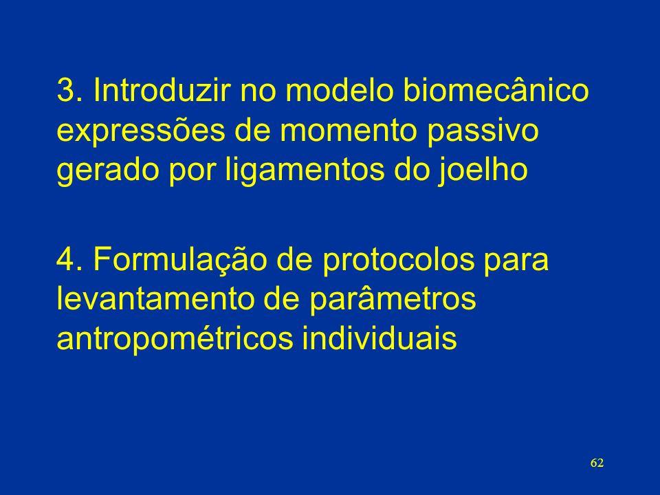62 3. Introduzir no modelo biomecânico expressões de momento passivo gerado por ligamentos do joelho 4. Formulação de protocolos para levantamento de