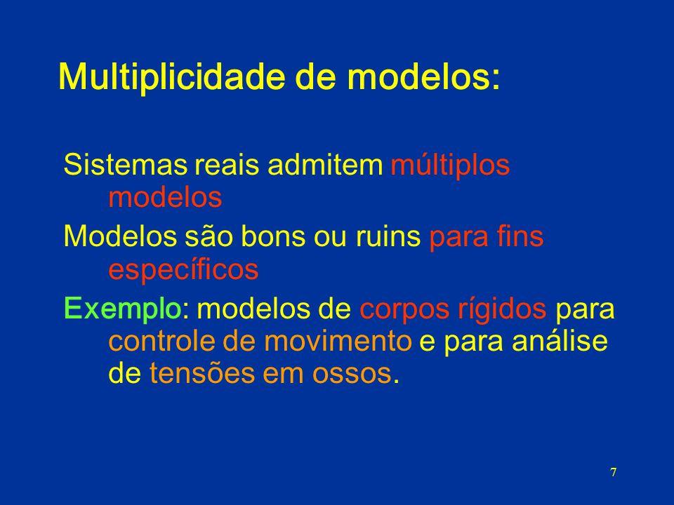7 Multiplicidade de modelos: Sistemas reais admitem múltiplos modelos Modelos são bons ou ruins para fins específicos Exemplo: modelos de corpos rígid