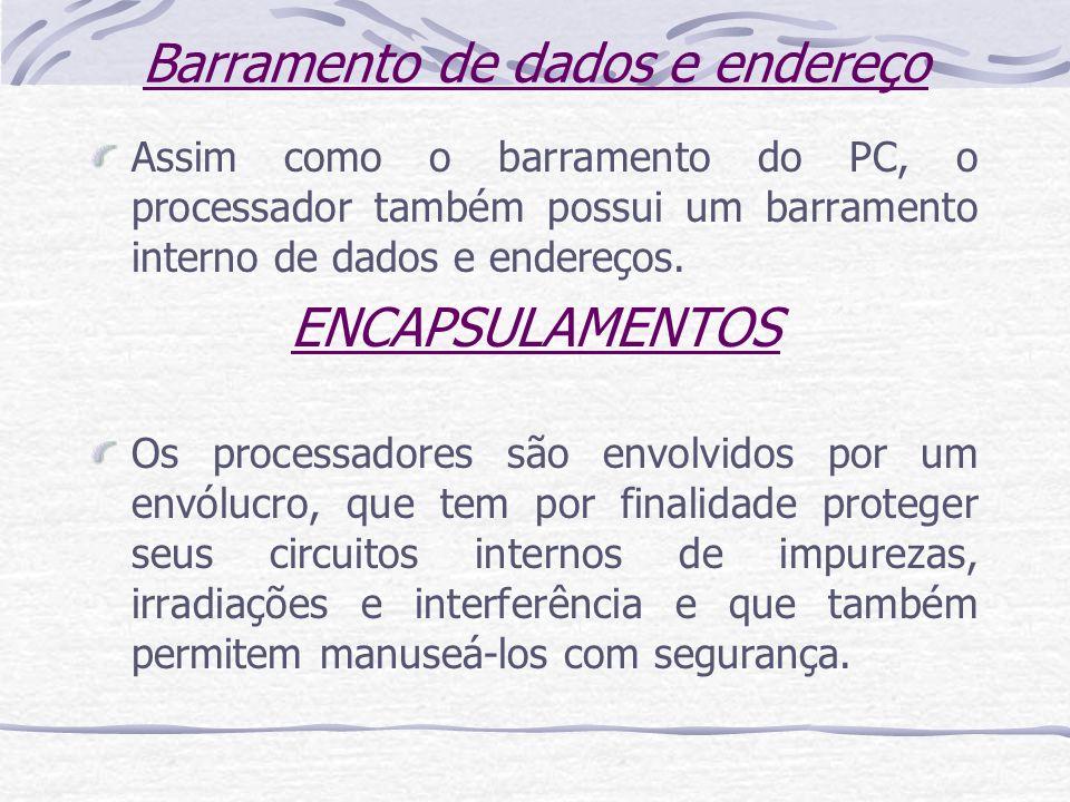 Barramento de dados e endereço Assim como o barramento do PC, o processador também possui um barramento interno de dados e endereços. ENCAPSULAMENTOS