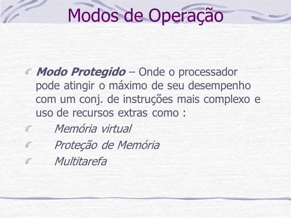 Modos de Operação Modo Protegido – Onde o processador pode atingir o máximo de seu desempenho com um conj. de instruções mais complexo e uso de recurs