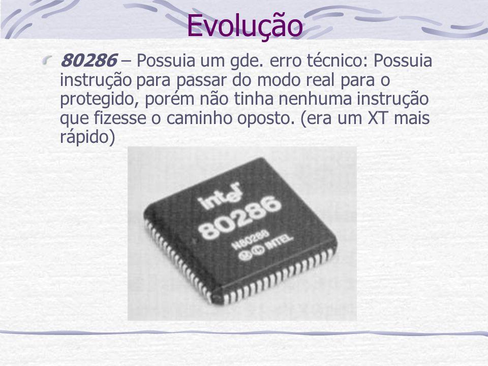 Evolução 80286 – Possuia um gde. erro técnico: Possuia instrução para passar do modo real para o protegido, porém não tinha nenhuma instrução que fize