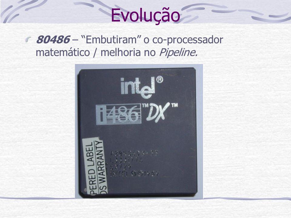 Evolução 80486 – Embutiram o co-processador matemático / melhoria no Pipeline.